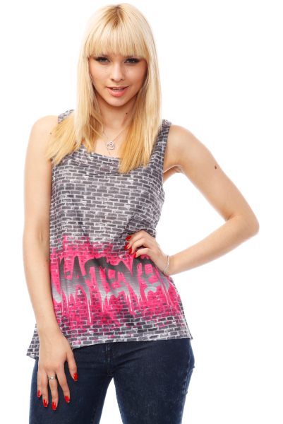 Brick Wall Graffiti Print Top