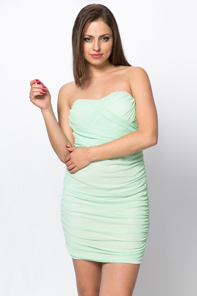 Bandeau Ruched Dress