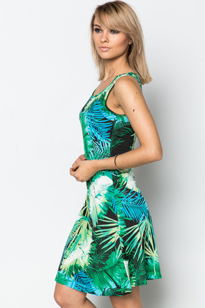 Palm Leaf Midi Dress