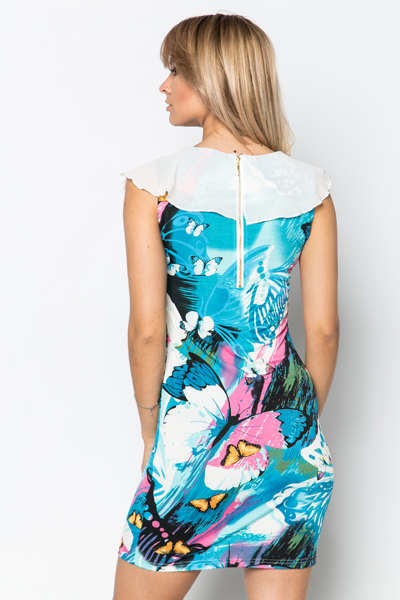Frilled Neckline Butterfly Print Dress