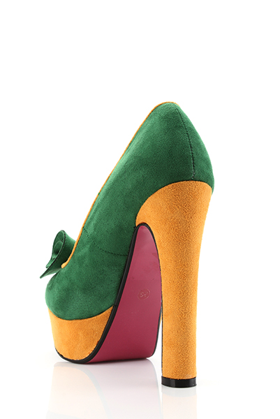 Twist Bow Suedette Two-Tone Shoes
