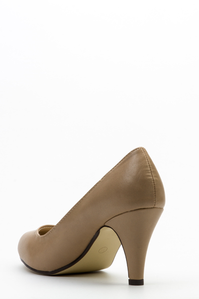 Faux Leather Mid-Heel Court Shoes