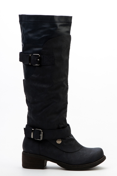 Layered Buckle Boots