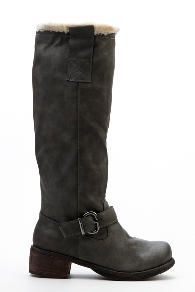 Zip Side Faux Leather Boots