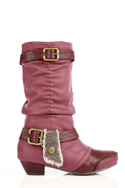 Ruched Button Tab Embellished Boots