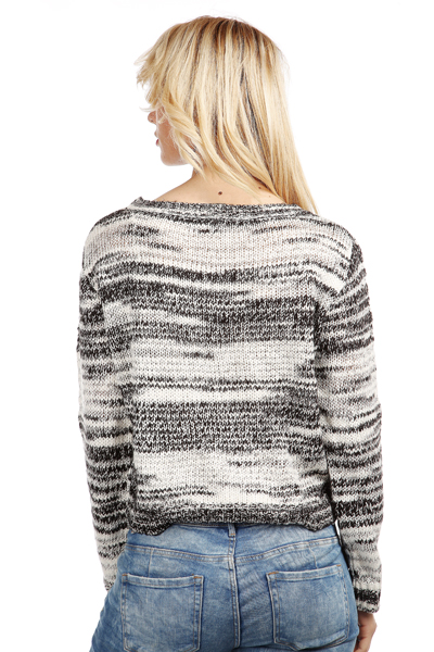 Monochrome Twisted Yarn Pullover
