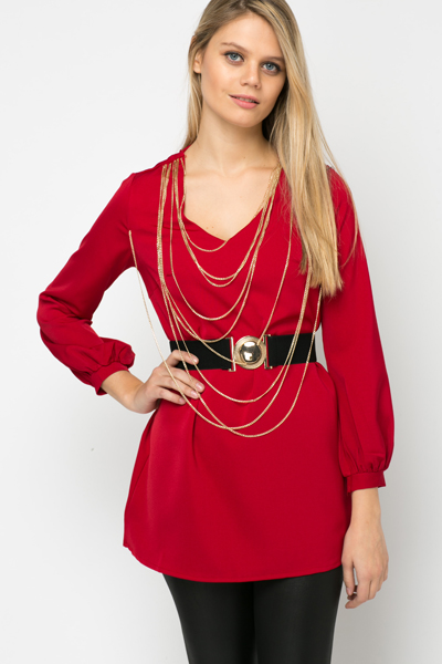 Chain Embellished Belted Tunic