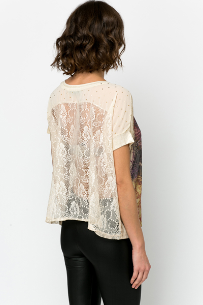 Lace Back Embellished Girl Print Blouse