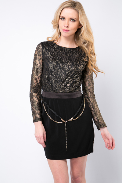 Opulent Metallic Lace Dress