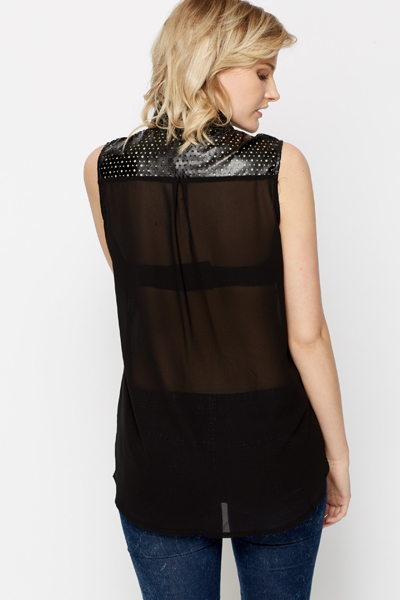Laser Cut Trim Chiffon Blouse