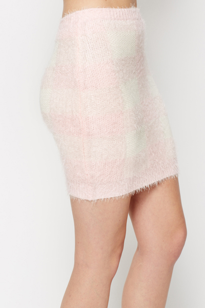 Fluffy Knit Check Bodycon Skirt