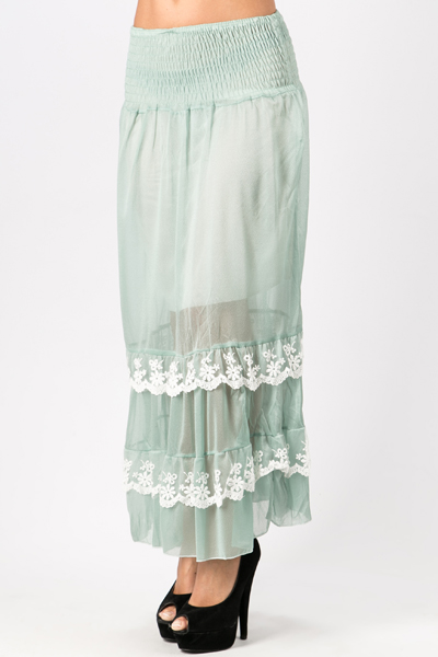 Floral Lace Trim Maxi Skirt