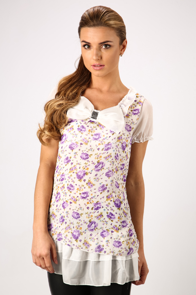 Large Bow Floral Tunic