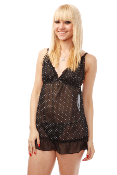 Polka Dot Chemise & G-string Set