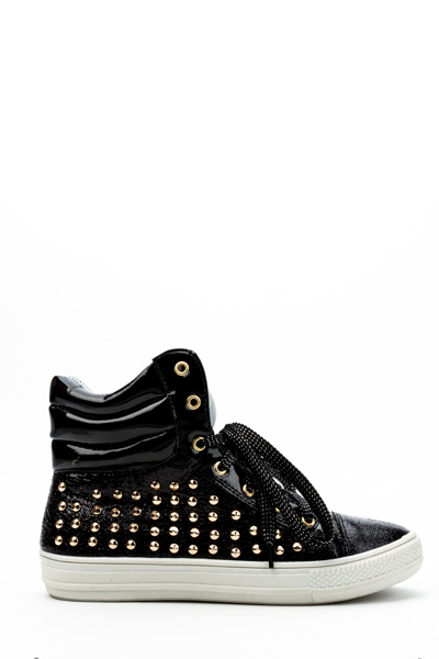 Stud Side Padded Hi-Top Trainers