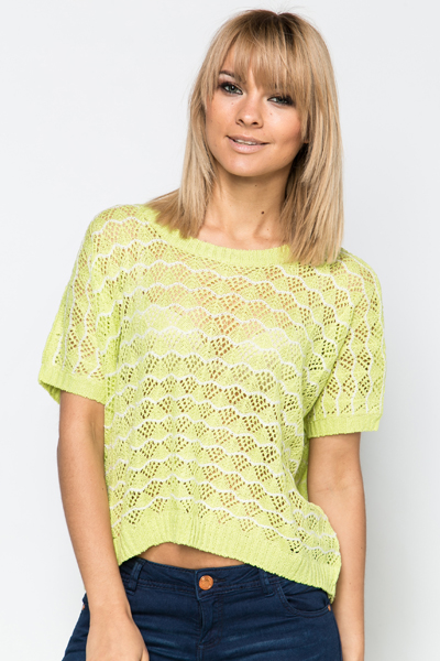 Wave Stitch Dipped Hem Top