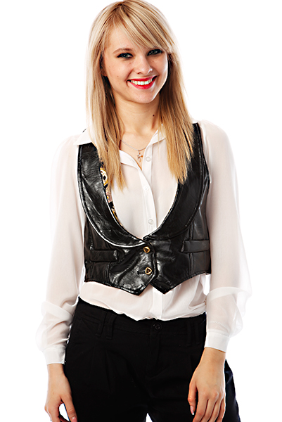 Dipped & Round Lapel Faux Leather Gilet