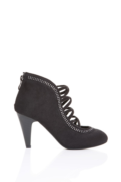 Diamante Trim Strappy Suedette Shoes
