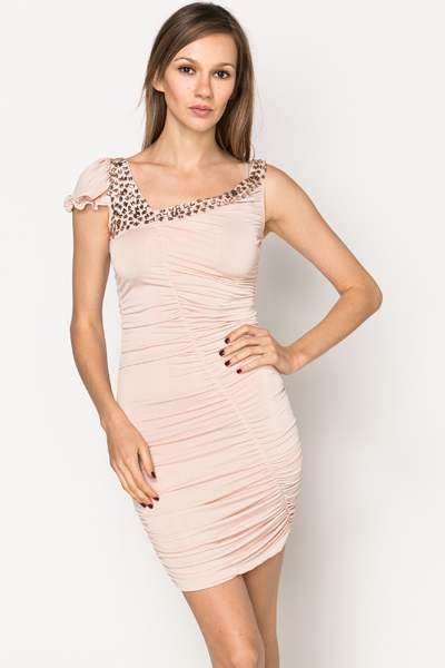 Jewel Embellished Ruched Dress