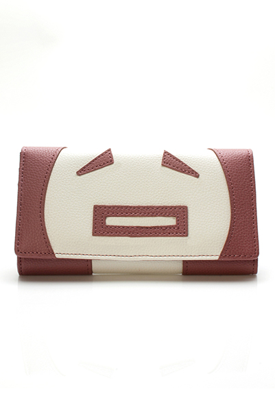 Faux Leather Face Applique Wallet