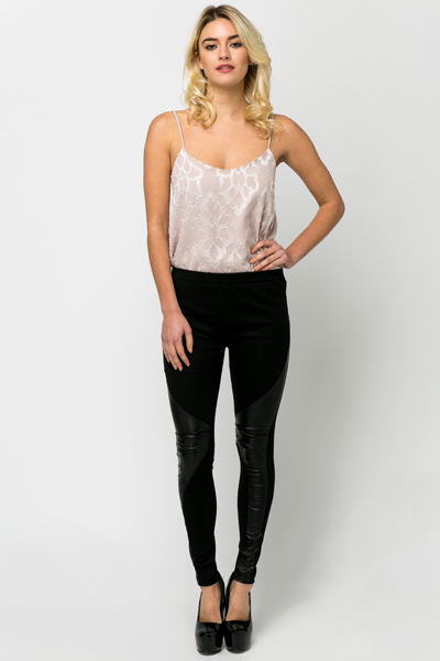 Ruched PU Panel Leggings