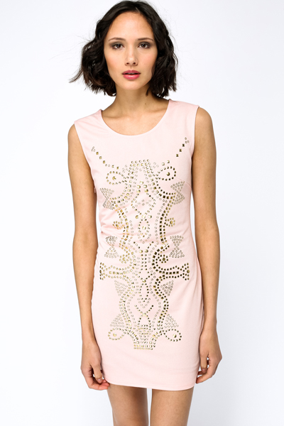 Stud Pattern Bodycon Dress