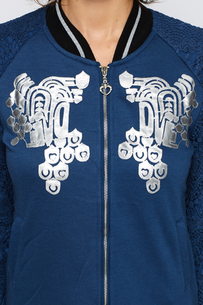 Lace Sleeve Emblem Jacket
