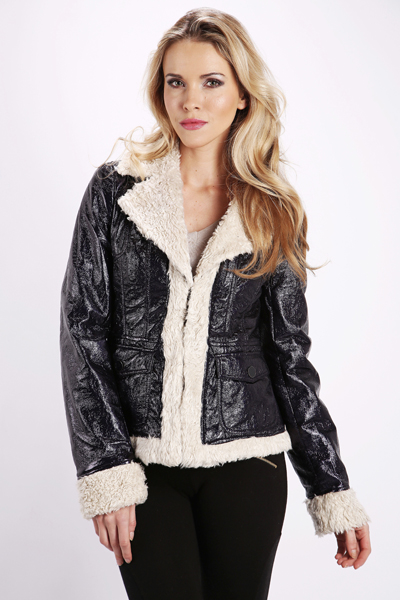 Faux Fur Trim PVC Jacket