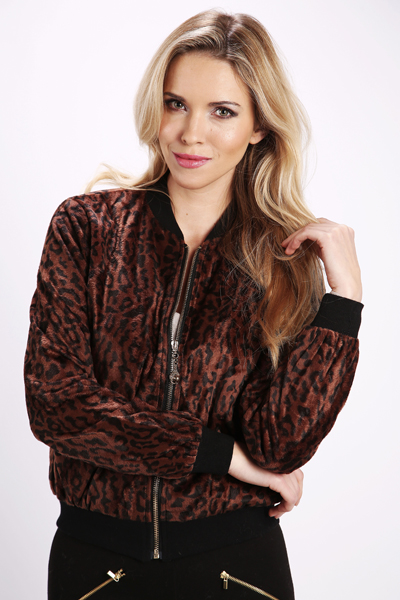 Fleeced Animal Print Bomber Jacket