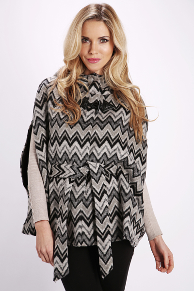 Fleeced Tribal Print Cape Jacket