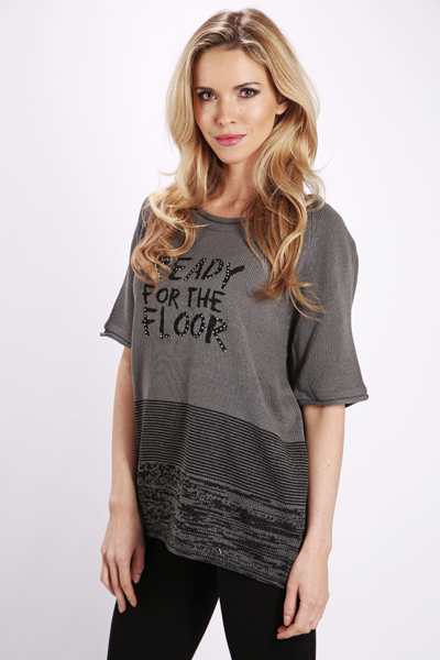 Ready For The Floor Studded Slogan Top