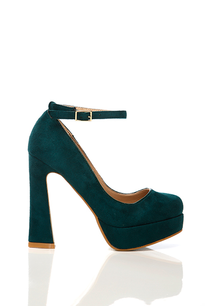 Thick Heel Ankle Strap Velour Shoes