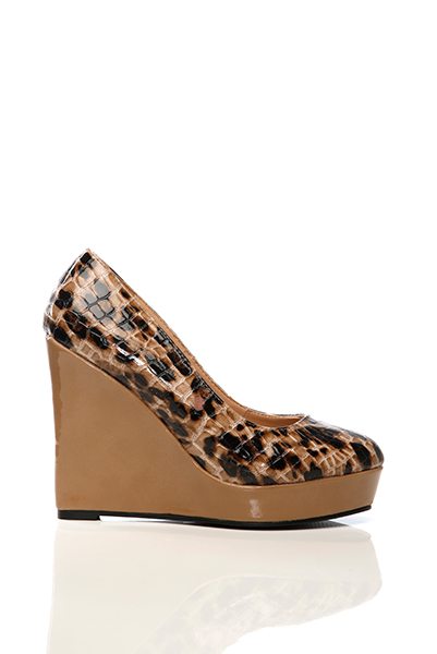 Patent Croc Skin Effect Wedge Shoes