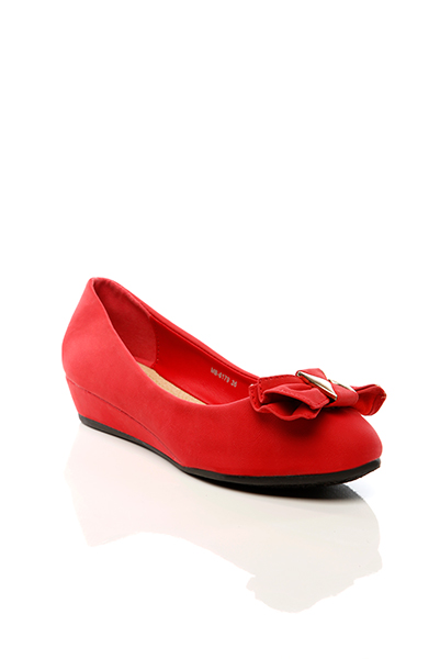 Metal Fitting Bow Small Wedge Shoes