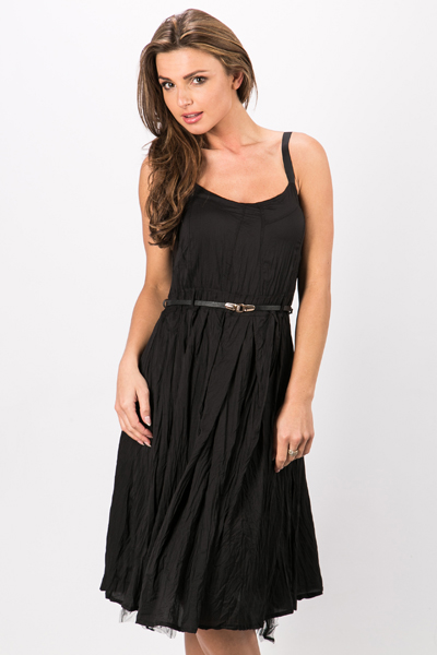 Creased Effect Belted Dress