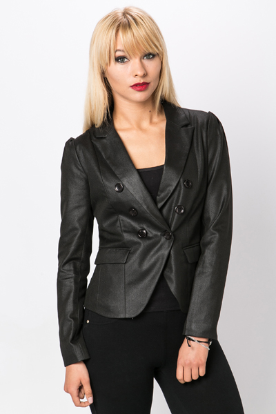 Pleated Shoulder Tux Style Blazer