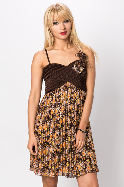 Shirred Floral Print Dress