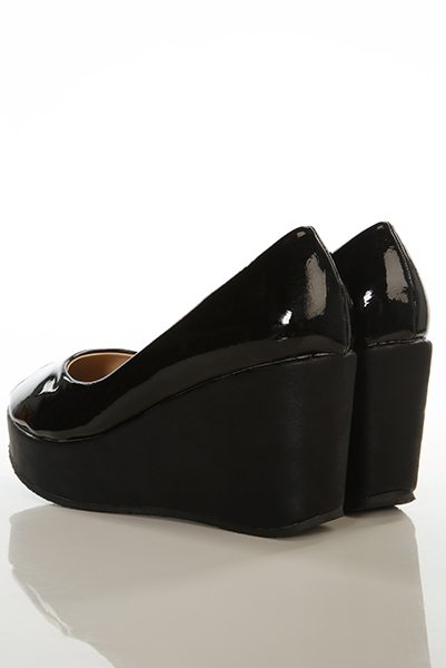Patent PVC Foam Platform Peep Toe Shoes