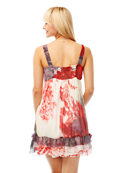 Screen Print Chiffon Dress