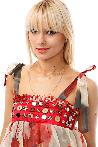 Buttons & Beads Embellished Halterneck Tier Top