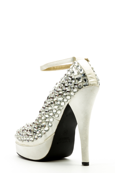 Faux Stone Embellished Ankle Strap Shoes