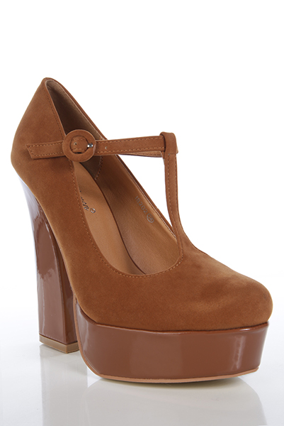 Patent Heel & Platform T-Bar Velour Shoes