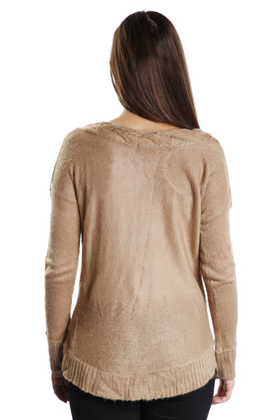 Cable Knit V-Neck Slouchy Jumper