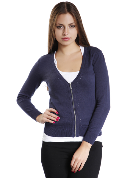 V-Neck Zipped Cardigan