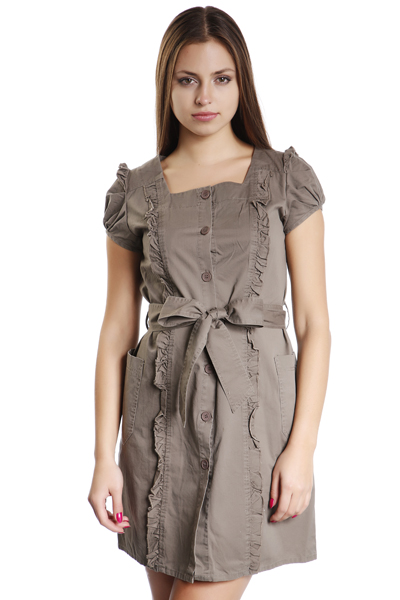 Frill Trim Button Front Dress