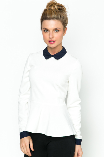 Collar Trim Peplum Top