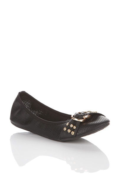 Perforated Buckle Front Flats