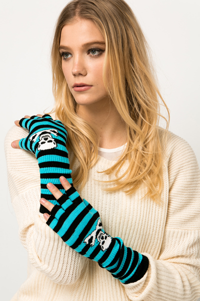 Fingerless Striped Skull Gloves