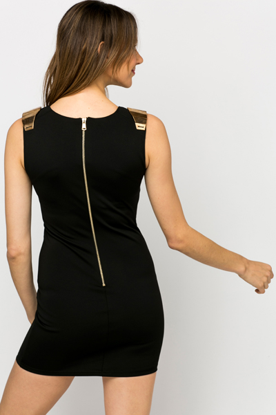 Gold Plated Shoulder Bodycon Dress