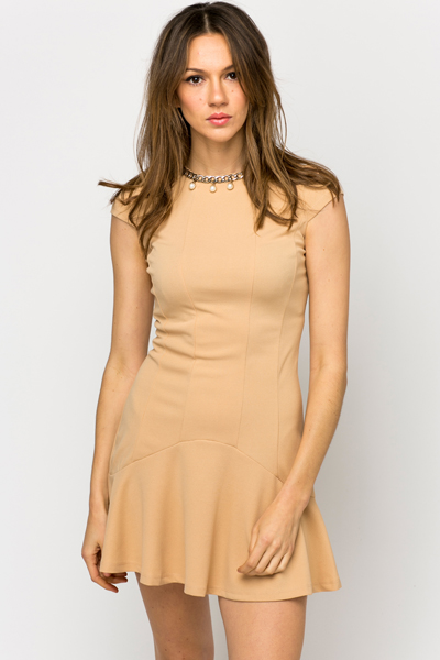 Embellished Neckline Frill Hem Dress